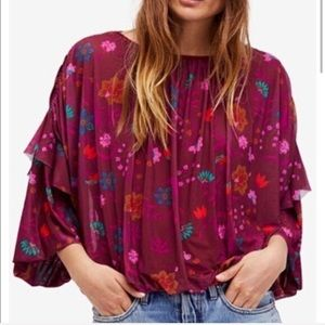 free people | new floral ruffle top in berry combo